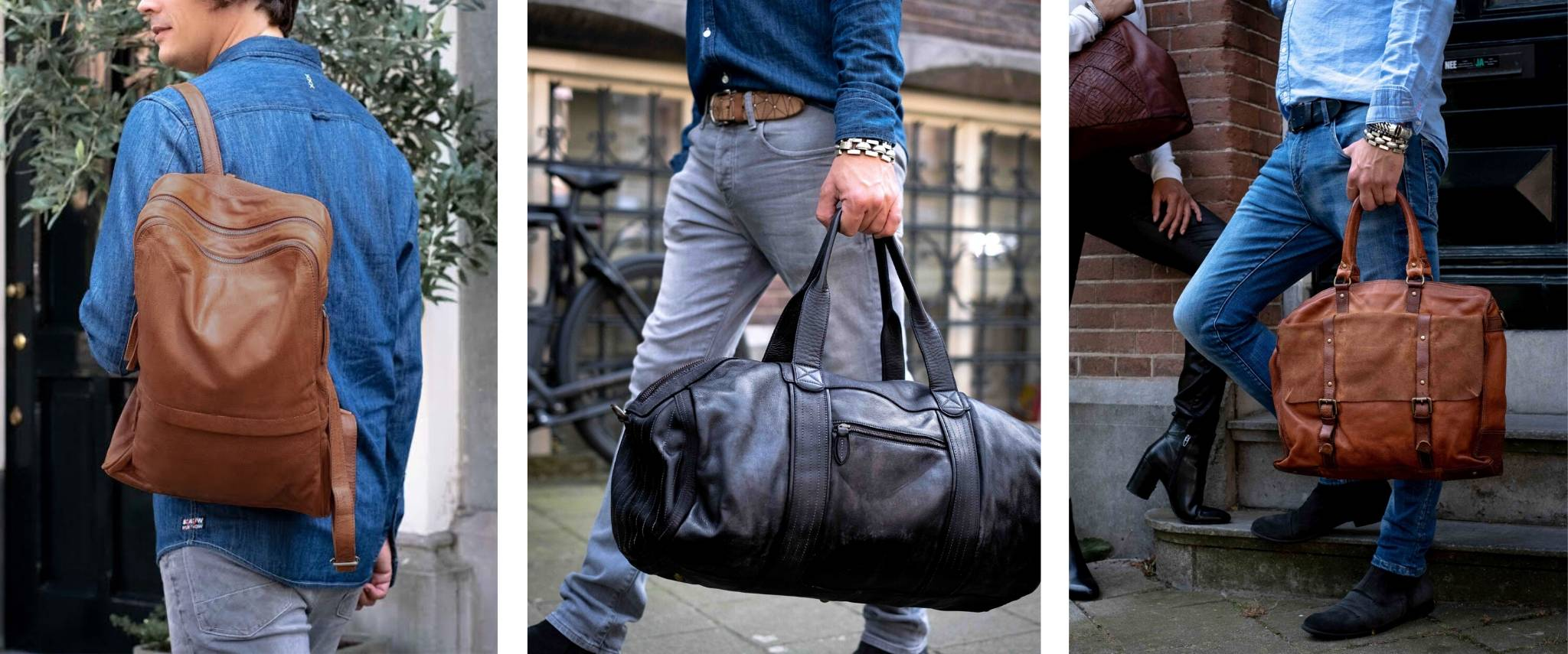 mens leather bags banner