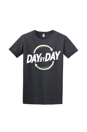 Day by Day Softstyle T-Shirt- Dark Heather/Brand Blue/Grind Green