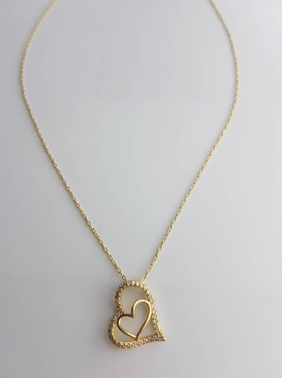 Charity 18K Gold Plated Heart Necklace