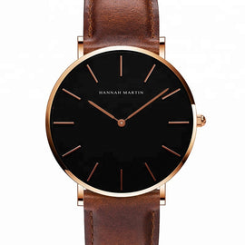 Derby Rose Gold Watch by Hannah Martin (Black Face Brown Leather Strap)
