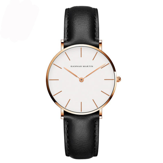 Derby Rose Gold Watch by Hannah Martin (White Face Black Leather Strap)