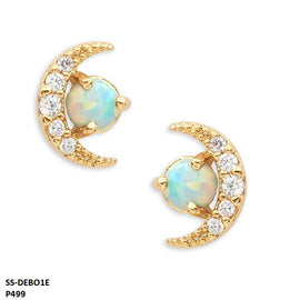 Debora Opal & Moon Stainless Steel Gold Plated Earrings