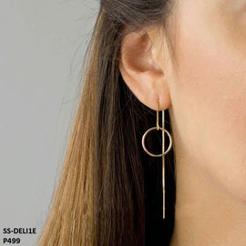 Deli Long Hanging Round Threader Stainless Steel Gold Plated Earrings