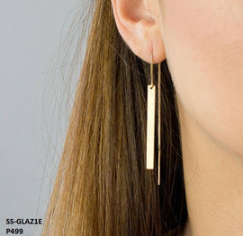 Glaze Long Drop Gold Bar Threader Stainless Steel Gold Plated Earrings