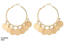 Lara Hanging Coins Multi Disc Hoop Stainless Steel Gold Plated Earrings