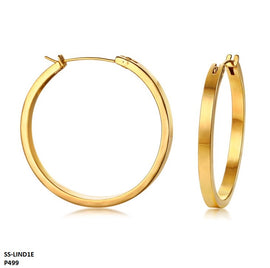 Lindsay Minimalist Hoop Stainless Steel Gold Plated Earrings