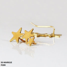 Marga 3-Star Ear Cuff Stainless Steel Gold Plated Earrings