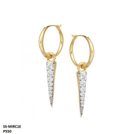 Mirca Pave Spike Charm Hoops Stainless Steel Gold Plated Earrings