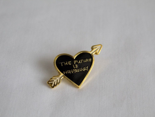 The Future is Nonbinary Enamel Pin