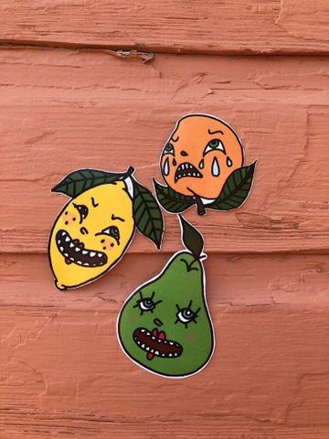 Fruit Stickers - Pissy Peach, Sour Lemon and Pretty Pear