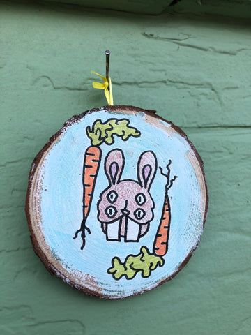 "Four-Eyed Bunny - 3x3"" painted wood block"