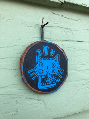 "Four-Eyed Screaming Blue Cat - 3x3"" painted wood block"
