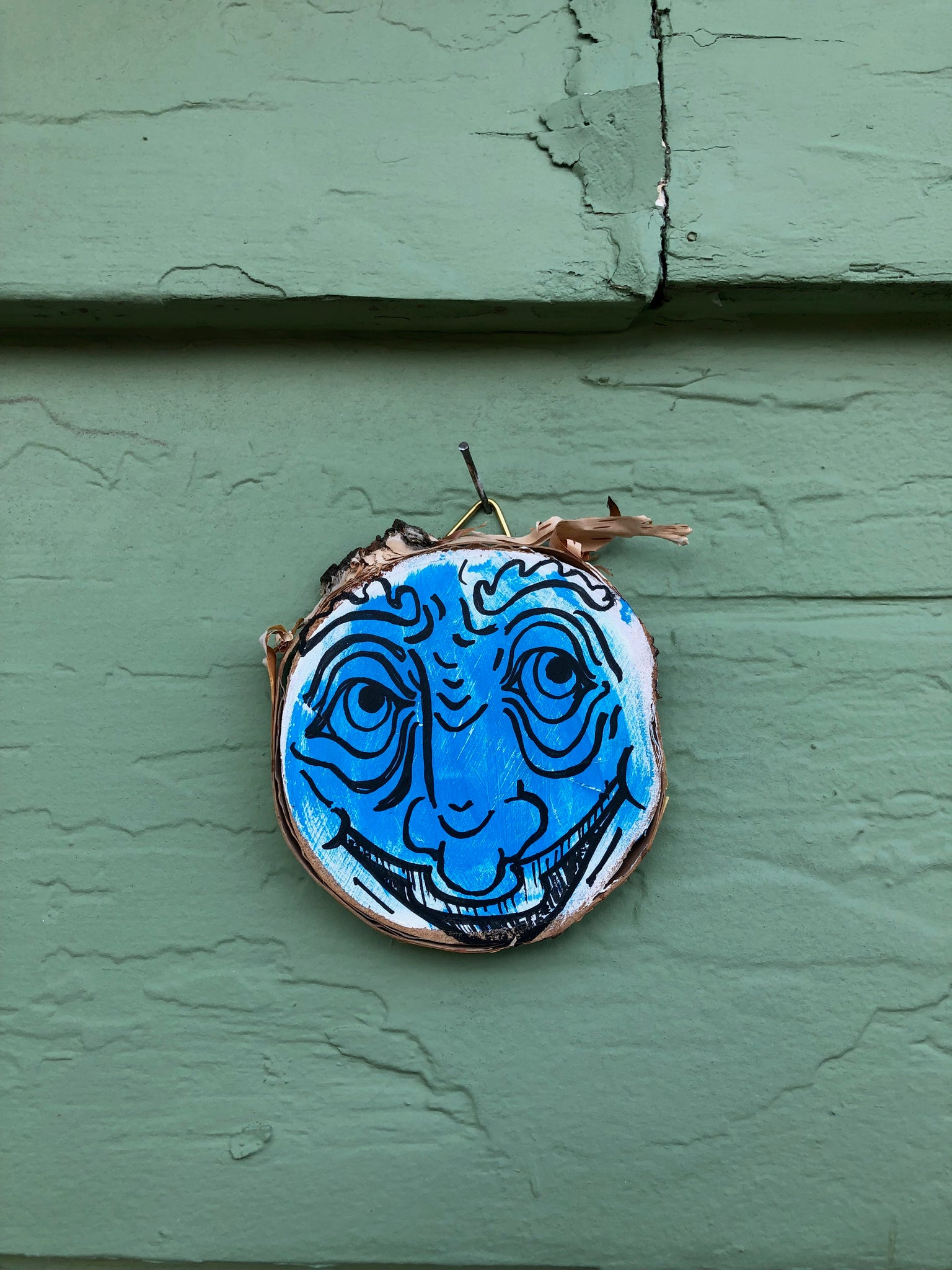 "Blue Wrinkle Face - 3x3"" painted wood block"
