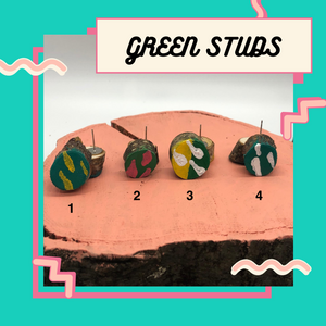 Green Earring Studs