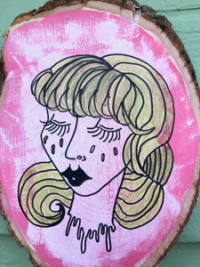 "Pink Lady Head - 6x4"" painted wood block"