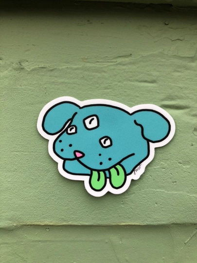 Blue Space Doggie Sticker