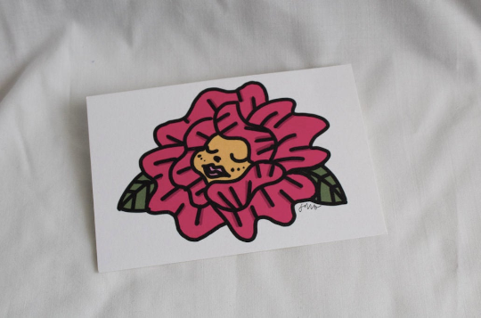 Flower Cherub - Small Print - Yellow/Purple/Pink