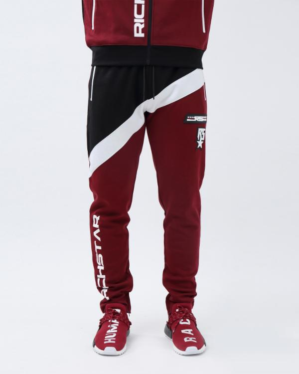 COLOR BLOCK TECH PANT-COLOR: BURGANDY