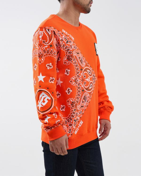 RS PAISLEY CREWNECK-COLOR: RED