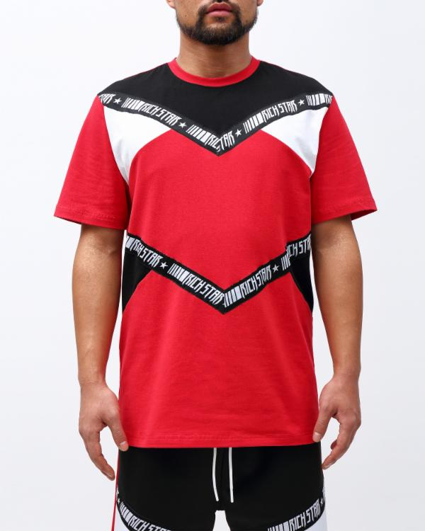 CHEVRON TAPE SHIRT-COLOR: RED