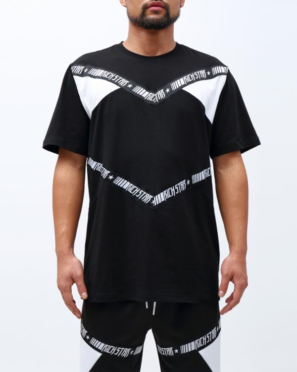 CHEVRON TAPE SHIRT-COLOR: BLACK