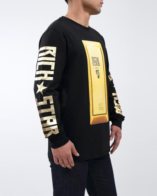 RICH BULLION LS TEE - COLOR: BLACK