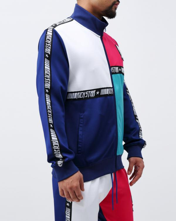 PANELED TAPE TRACK JACKET - COLOR: NAVY