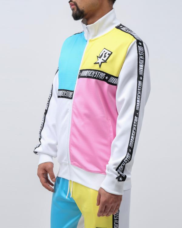 PANELED TAPE TRACK JACKET - COLOR: WHITE