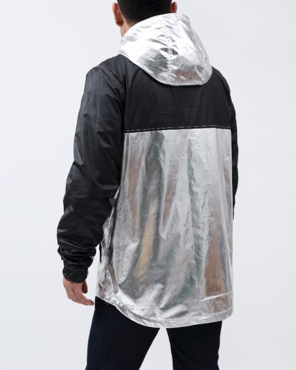 METALLIC PULLOVER JACKET-COLOR: SILVER