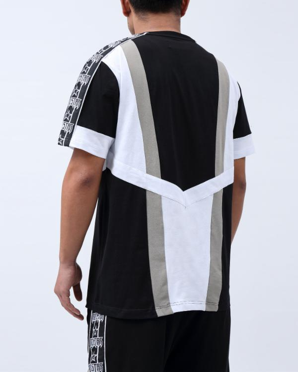 BIG TAPING BLOCKED SHIRT-COLOR: BLACK