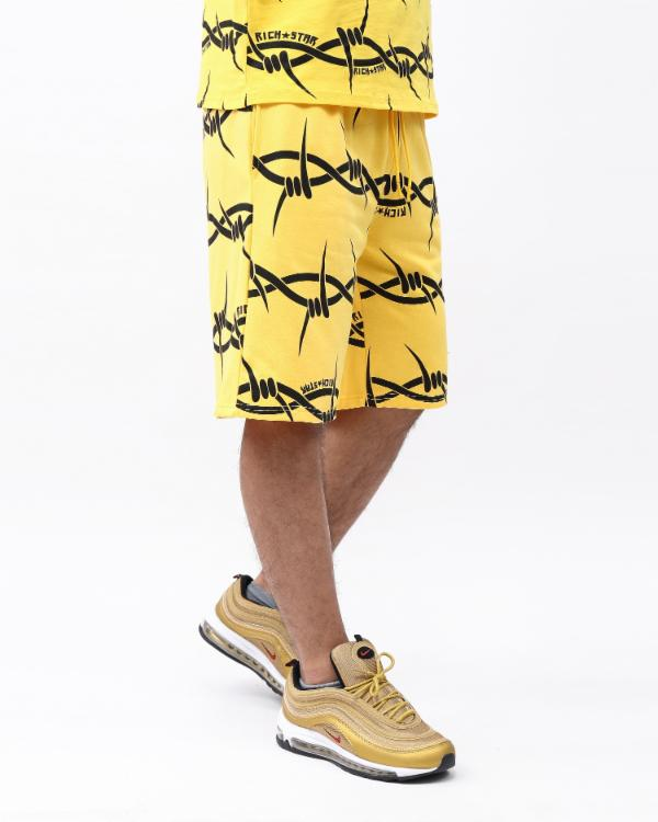 BARBED WIRE STRIPE SHORT-COLOR: YELLOW