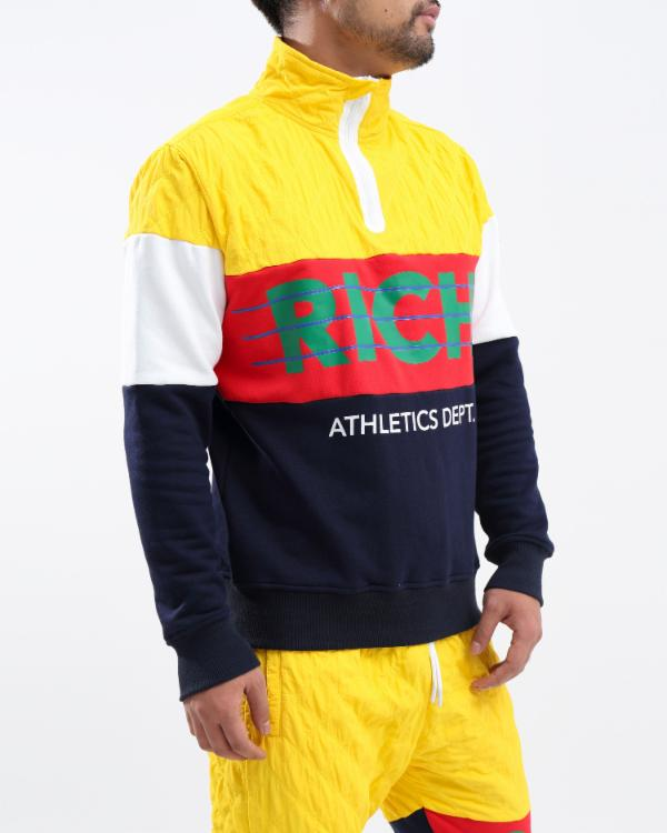 Rich Sthletic Pull Over Half Zip-COLOR: YELLOW