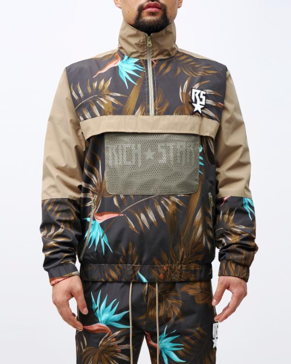 TROPICAL PULLOVER JACKET-COLOR: KHAKI