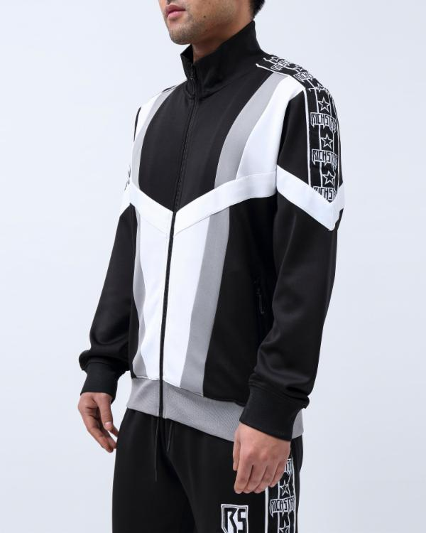 BIG TAPING BLOCKED TRACK JACKET-COLOR: BLACK