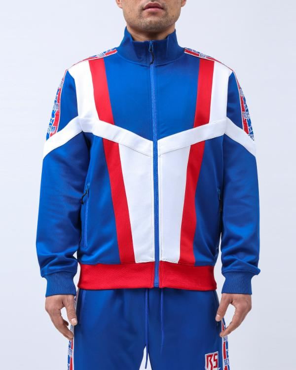 BIG TAPING BLOCKED TRACK JACKET-COLOR: ROYAL BLUE