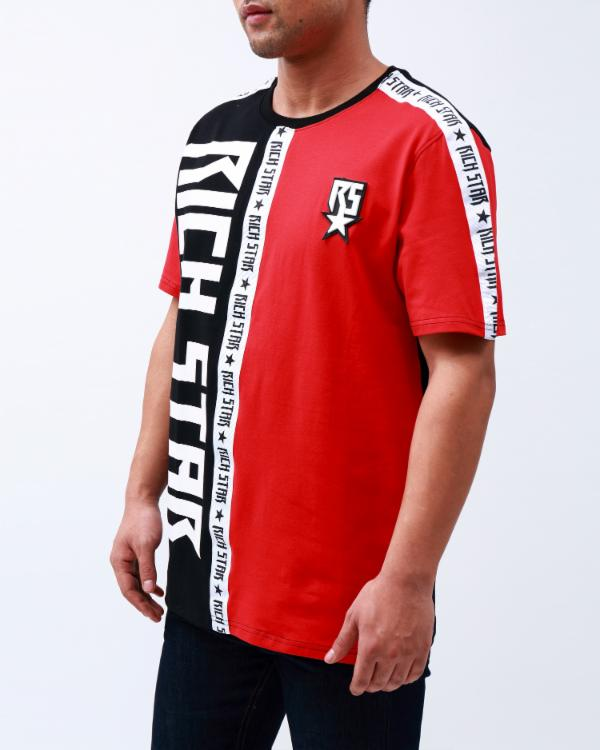 DOUBLE LOGO TAPED SHIRT-COLOR: RED