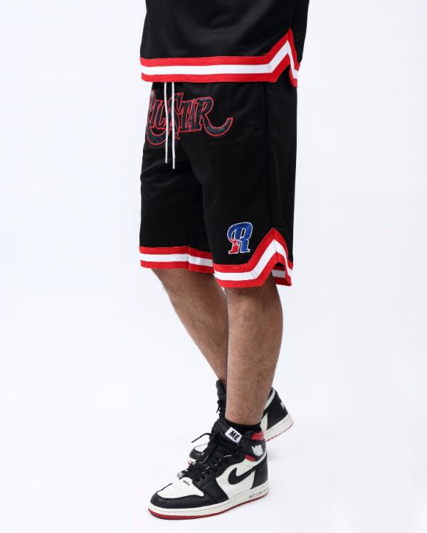 SNAKESKIN BASKETBALL SHORT-COLOR: BLACK