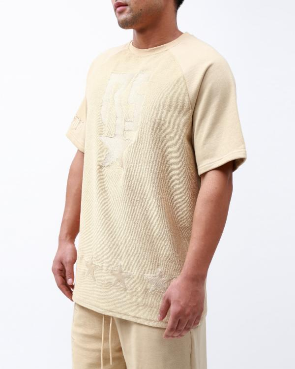 REVERSE TERRY SHIRT-COLOR: BEIGE
