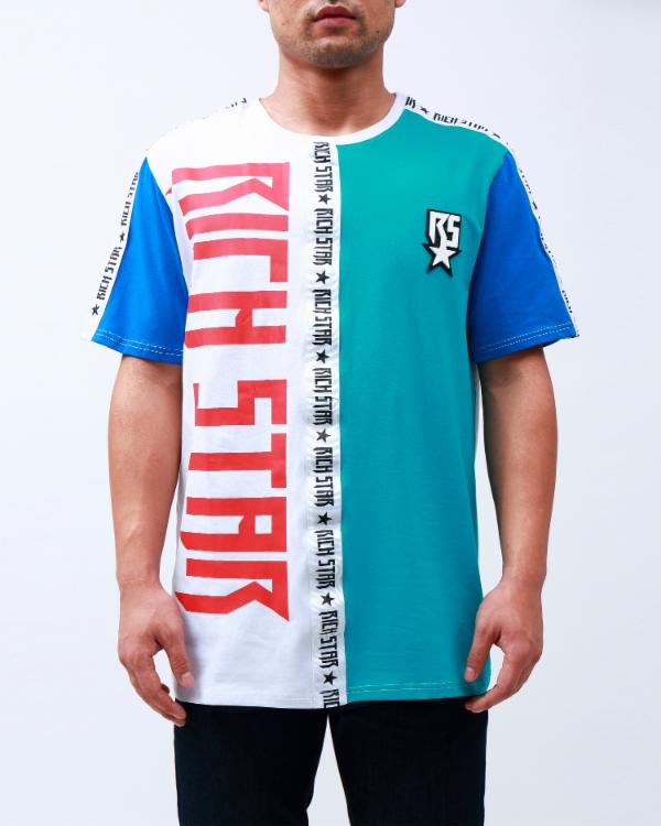 DOUBLE LOGO TAPED SHIRT-COLOR: TURQOUISE