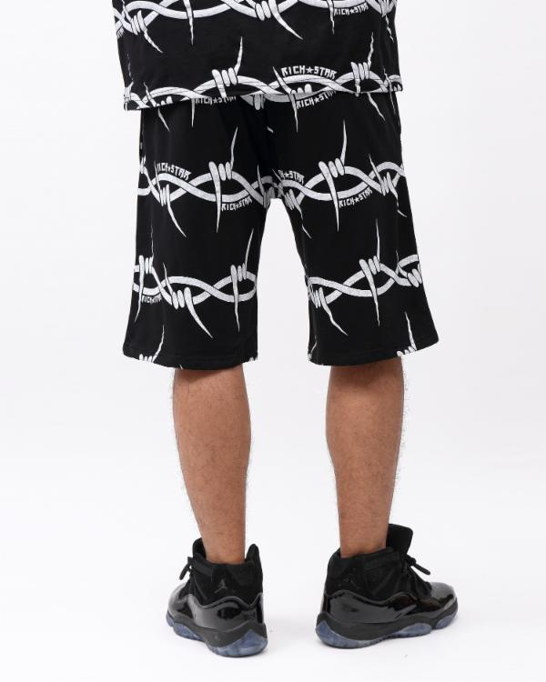 BARBED WIRE STRIPE SHORT-COLOR: BLACK