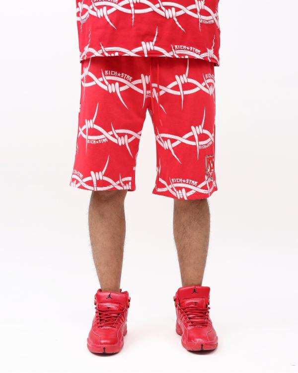 BARBED WIRE STRIPE SHORT-COLOR: RED