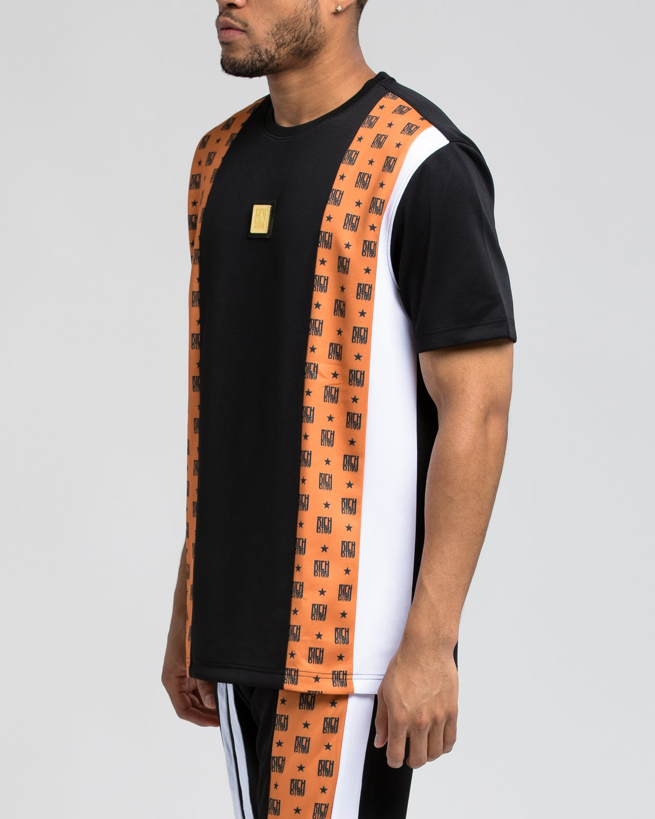 Logo Allover Block SS Shirt - Color: ORANGE