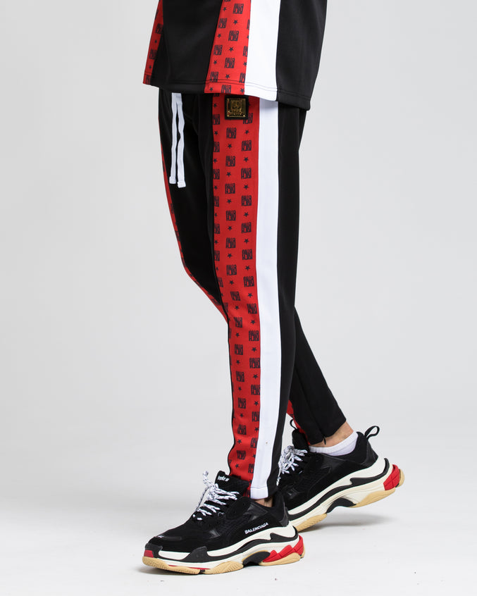 Logo Allover Block Track Pant - Color: RED | Red