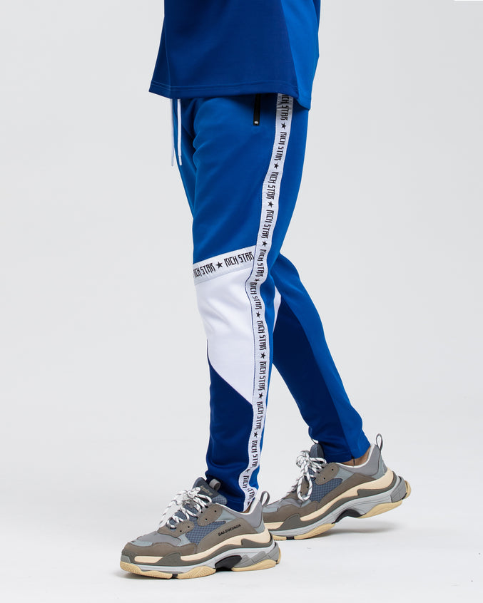 Logo Tape Color Block Track Pant - Color: BLUE