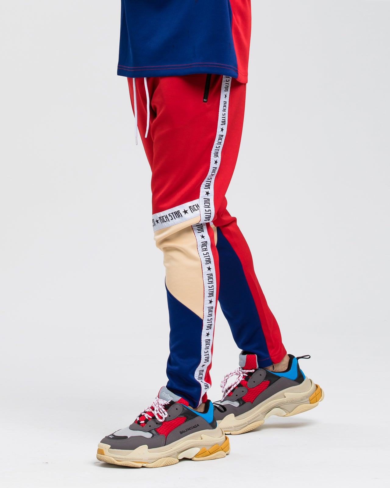 Logo Tape Color Block Track Pant - Color: RED