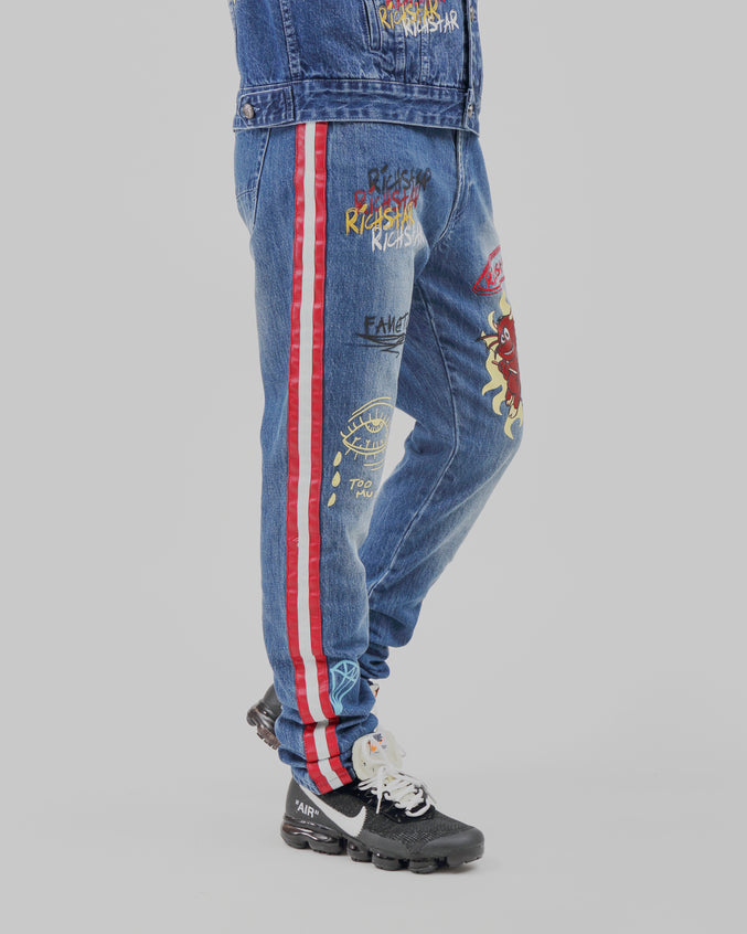 Rich Star Pu Striped Denim Pant - Color: MEDIUM WASH