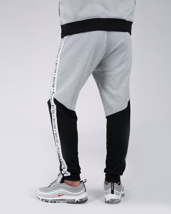 Taping Color Block Jogger Pants - Color: Gray