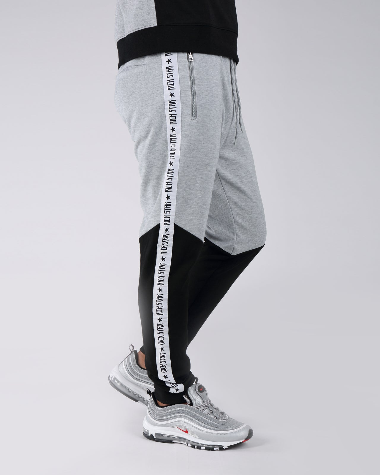 Taping Color Block Jogger Pants - Color: Gray | Gray