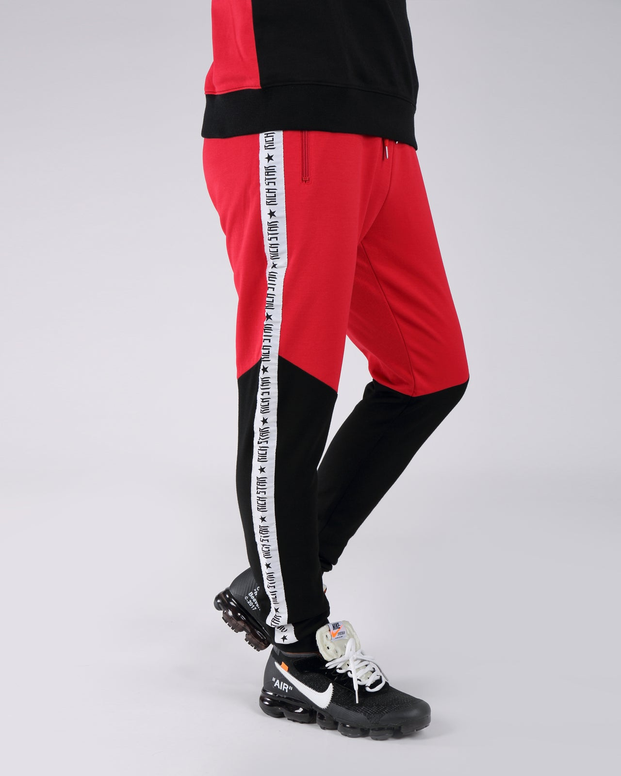 Taping Color Block Jogger Pants - Color: Red