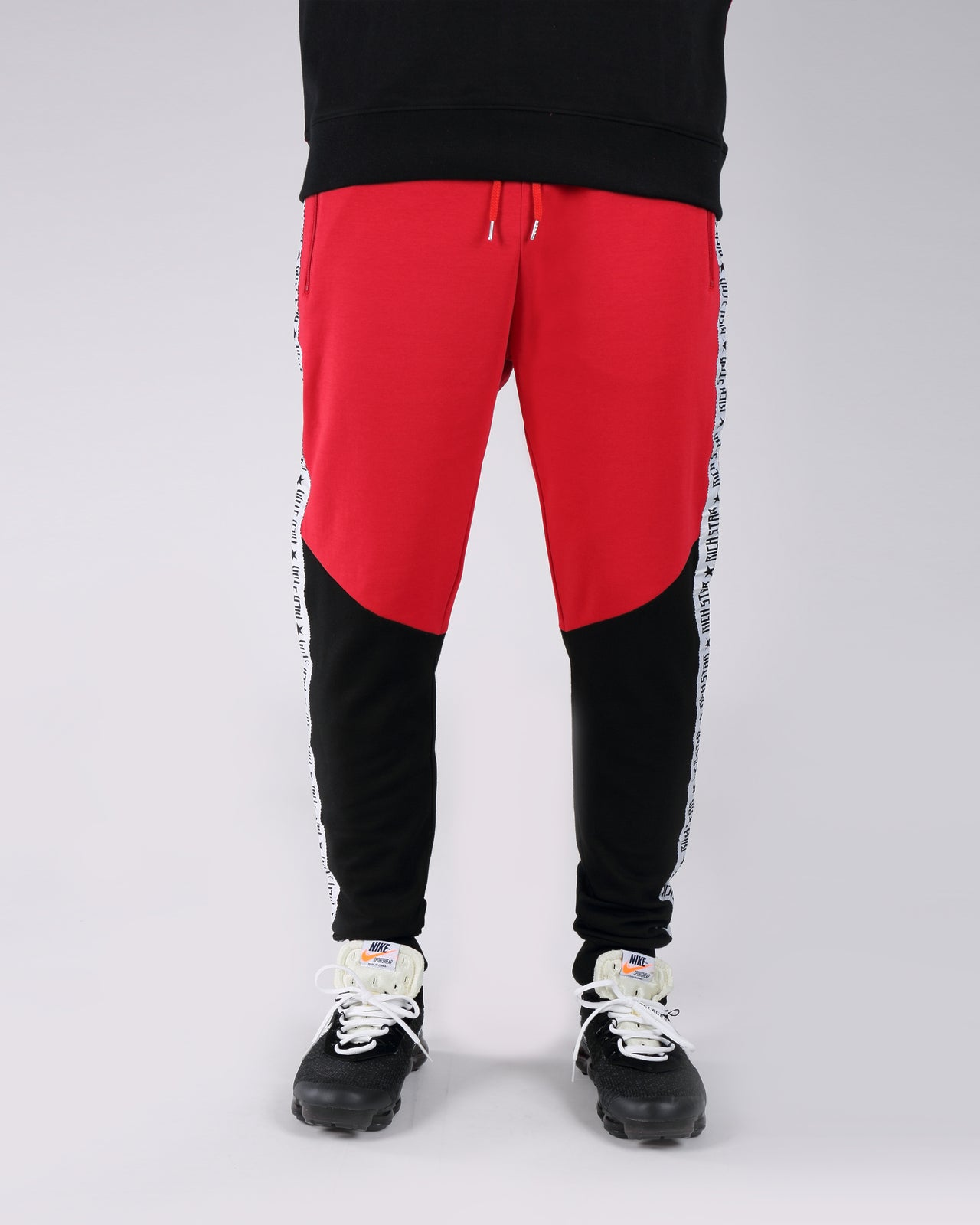 Taping Color Block Jogger Pants - Color: Red | Red